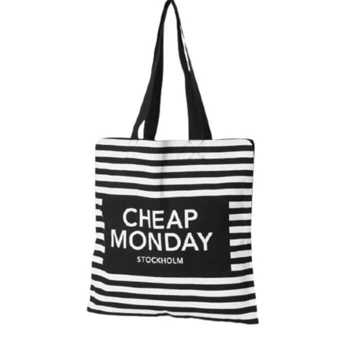 Cheap Monday πάνινη ριγέ τσάντα