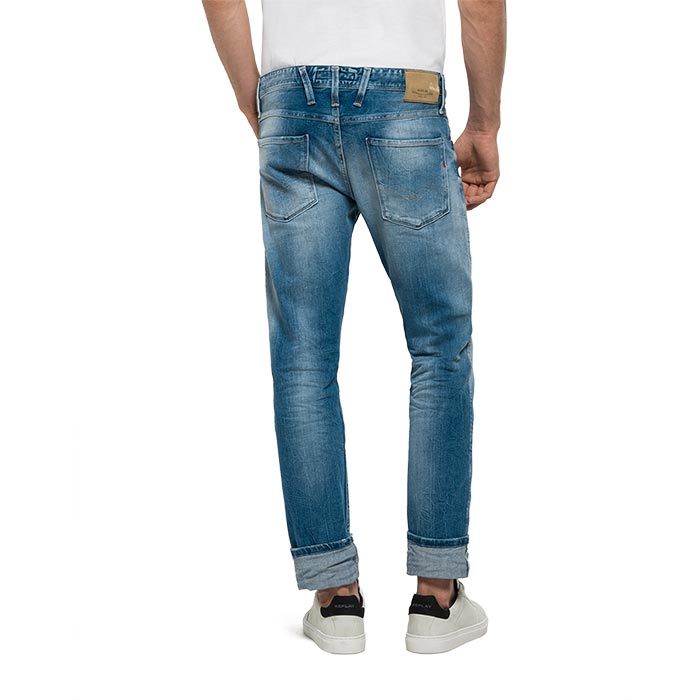 REPLAY ΑΝΔΡΙΚΟ ΤΖΙΝ ΠΑΝΤΕΛΟΝΙ ANBASS SLIM-FIT JEANS M914.000.23C 940 - Men's slim-fit jeans in 12.5oz light-wash bright redcast stretch denim