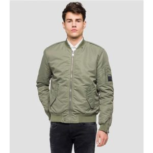 Replay Men's Solid Twill Bomber Jacket.
