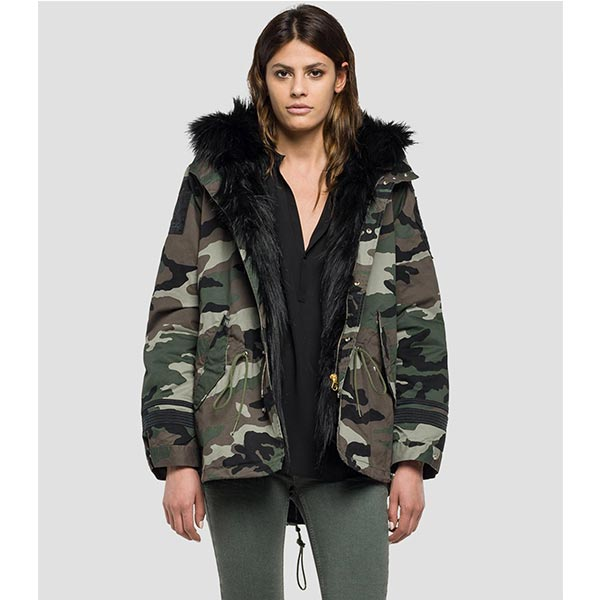 Replay Women's Camouflage Parka With Faux Fur Trim
