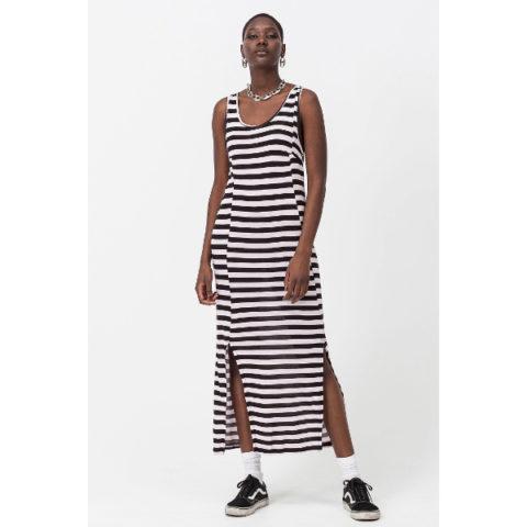 Γυναικείο Μακρύ Φόρεμα Ριγέ Μαύρο/Ροζ - Cheap Monday