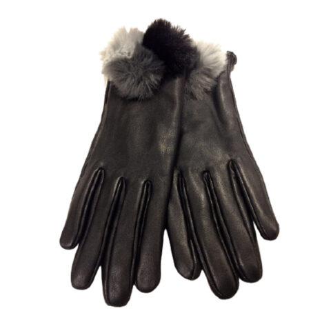 Γυναικεία Μαύρα Δερμάτινα Γάντια Με Πομ-Πομ