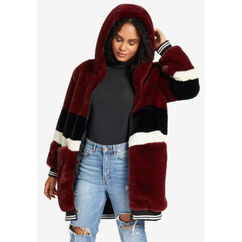 Οικολογική Γούνα-Oversized Athleisure Fake Fur Wine Red