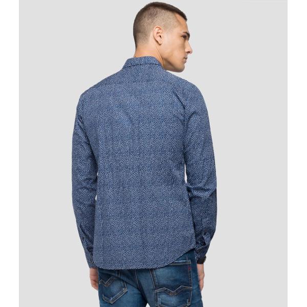 4b8c4ed324a3 Replay Ανδρικό Βαμβακερό Πουκάμισο Με Τύπωμα - Tutto Jeans