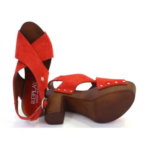 Replay Ribe Red Γυναικείο Πέδιλο Σαμπό