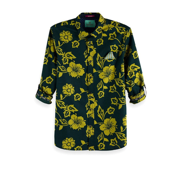 Featuring an all-over print, this cotton shirt is designed with sleeve collectors. The regular fit shirt has a classic collar and a chest pocket with a fixed pocket square. FEATURES;