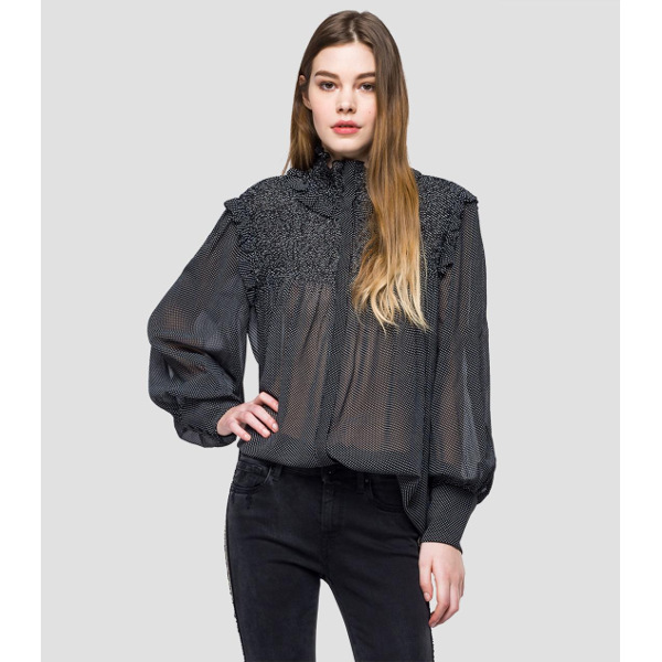 Replay Women's Transparent Patterned Blouse