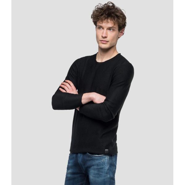 Replay Men's Crewneck Sweater Raw Cut