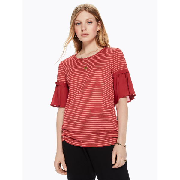 Scotch & Soda Ruffle Sleeve T-Shirt