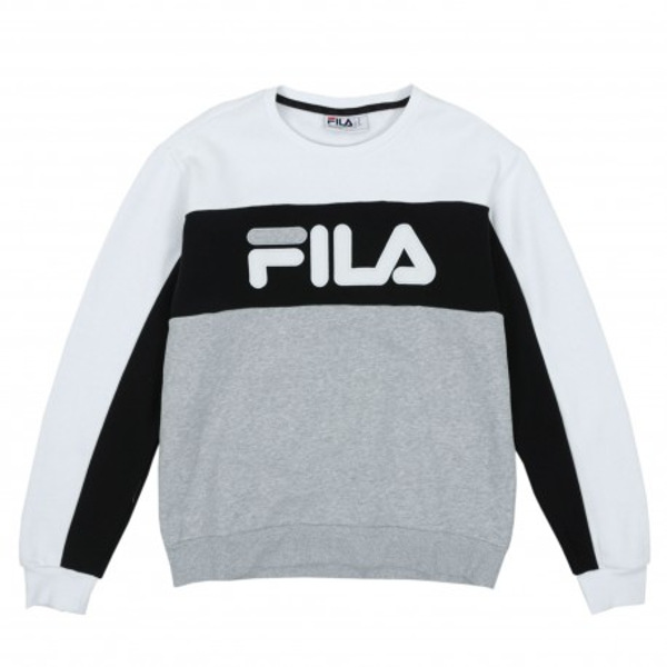 LM912768 Fila Men's Lesner Fleece Crew, color block. COLOR: WHITE/BLACK/GREY HEATHER