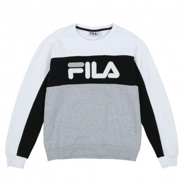 LM912768 Fila Men's Lesner Fleece Crew, color block. COLOR: WHITE/BLACK/GREY HEATHER