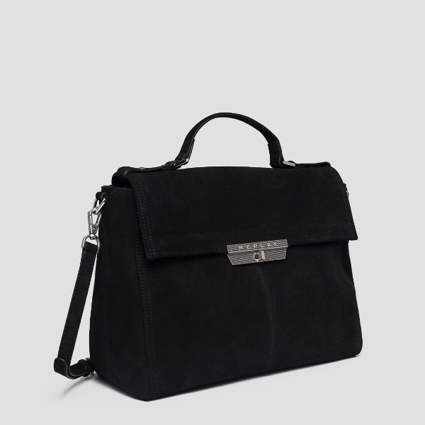 Replay Women's Suede Handbag Black
