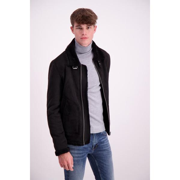 Lindbergh Men's Fake Mouton Jacket-Black