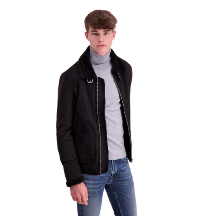 Lindbergh Men's Fake Mouton Jacket-Black