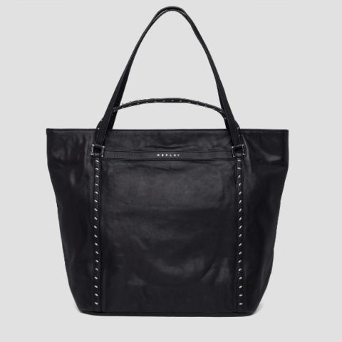 Replay Leather Shopper Bag With Studs