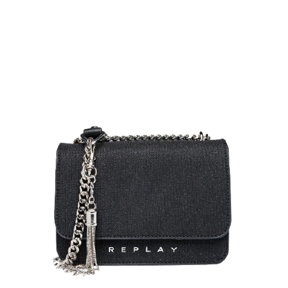 Replay Women's Glitter Shoulder Bag Black