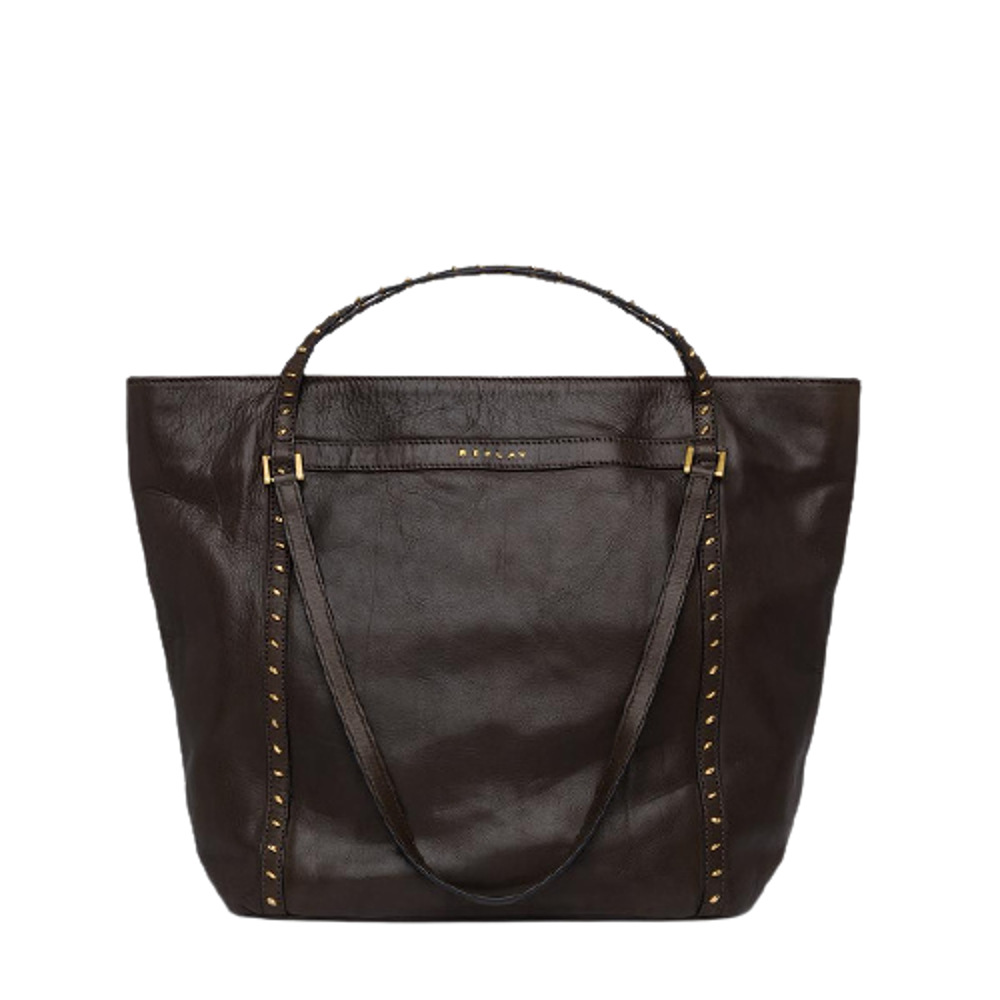 Replay Leather Bag With Studs Brown