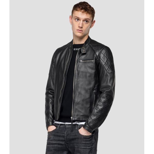 Replay Leather Biker Jacket With Diamond Inserts