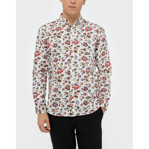 Replay Men's Floral Print Cotton Shirt