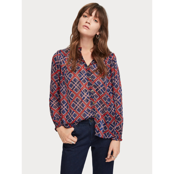Scotch & Soda Women's Sheer Printed Blouse