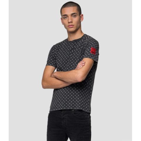 Replay Men's T-Shirt Geometric Micro Pattern