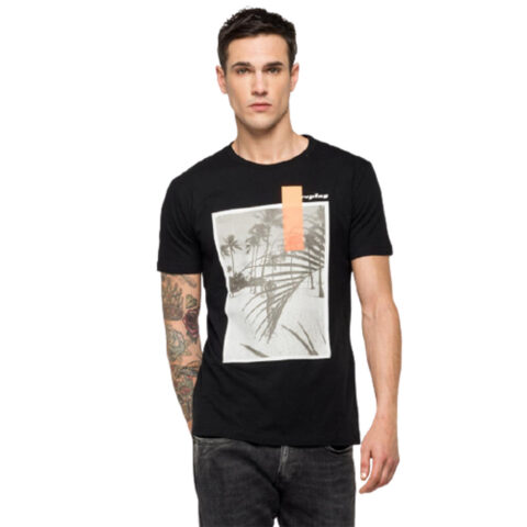Replay Men's T-Shirt With Beach Print Black