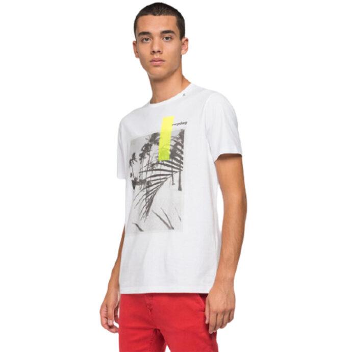 Replay Men's T-Shirt With Beach/Print White