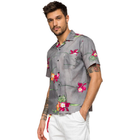 Replay Men's Shirt Pocket/Floral Print