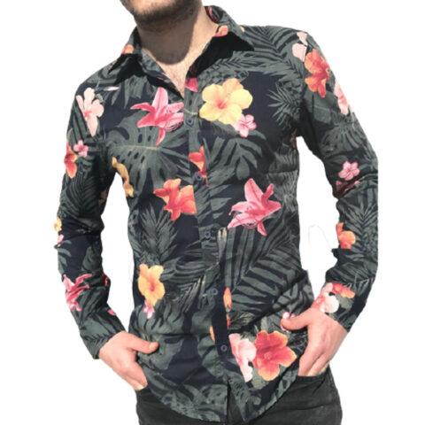 Men's Floral Printed Shirt Long Sleeves