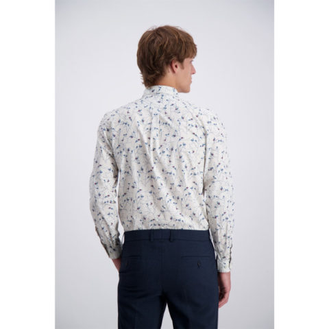 Men's Printed Shirt Slim-fit Cotton Stretch