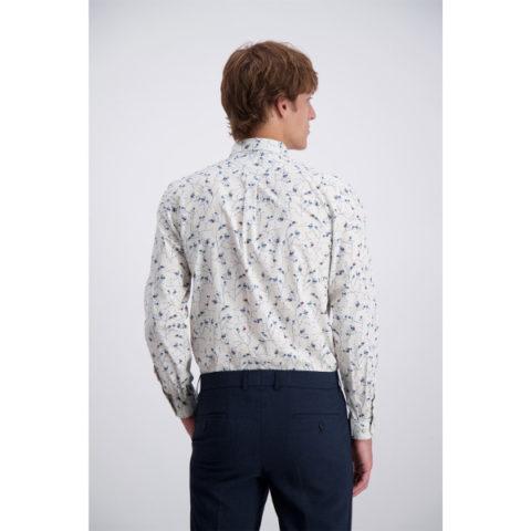 Men's Printed Shirt Slim-fit Cotton Stretch