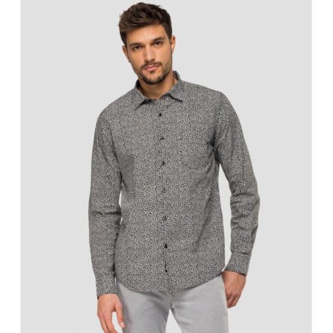 Replay Men's Poplin Shirt With Print