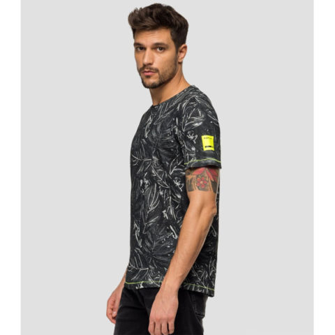 Replay Men's T-Shirt All-Over Leaves Print