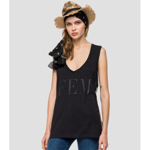 Replay Women's Sleeveless T-shirt With Fringes