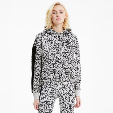 Puma Classics Women's Cropped Hoodie Gray-Animal