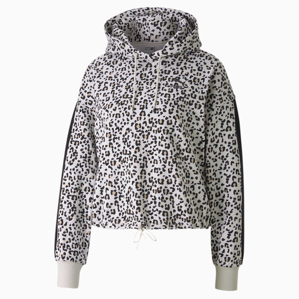Puma Classics Women's Cropped Hoodie Gray-Animal