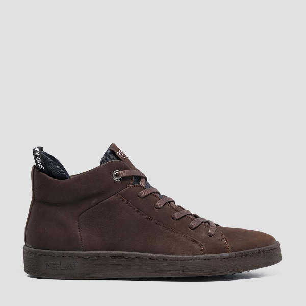Replay Brightoon Lace-Up Mid-Cut Leather Sneakers