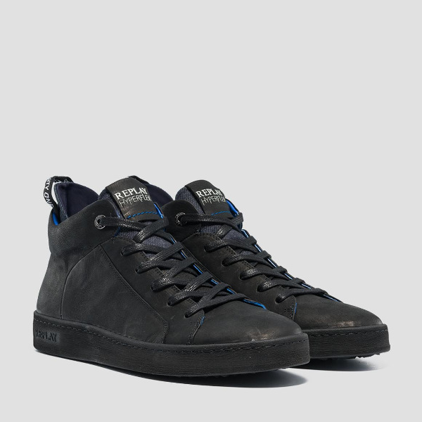 Replay Brightoon Lace-Up Mid-Cut Black-Leather Sneakers