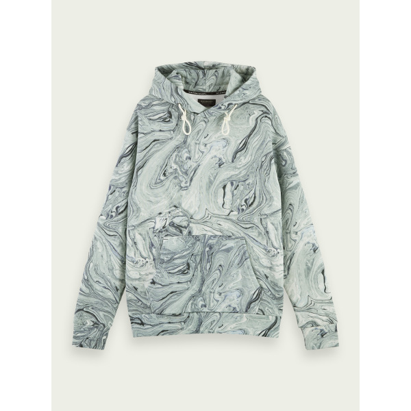 Scotch & Soda Marbled cotton-blend artwork hoodie