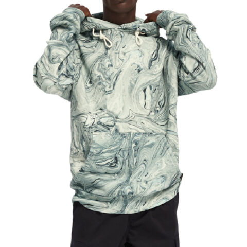 Scotch & Soda Marbled cotton-blend artwork hoodie