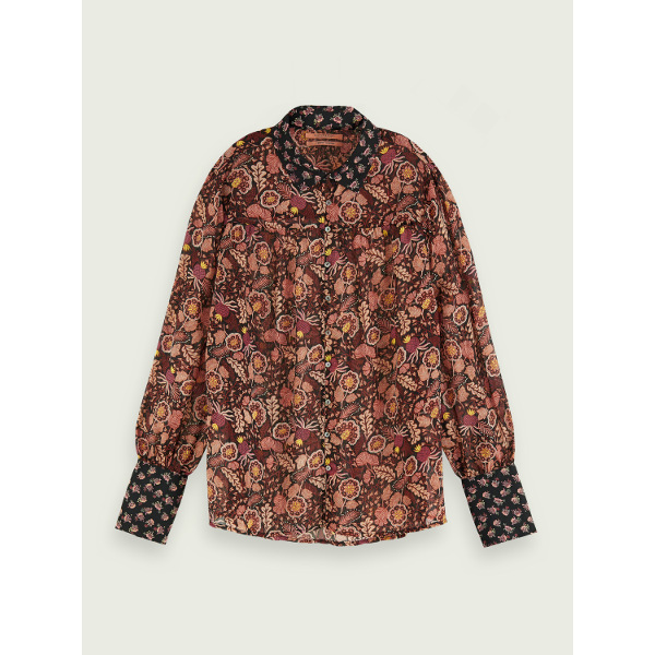 Long sleeve mixed print button down shirt