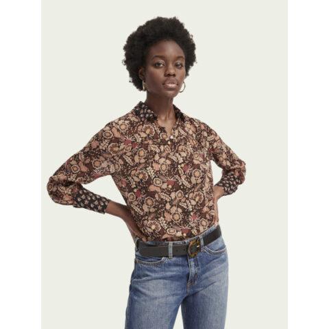 Long sleeve mixed print button down shirt