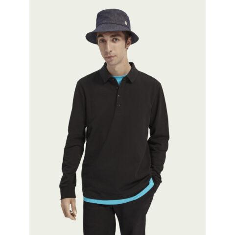 Scotch & Soda Stretch cotton long-sleeve polo-shirt