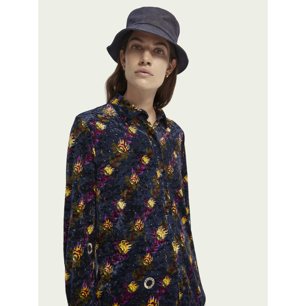 Scotch & Soda Printed Velvet Button-Down Shirt