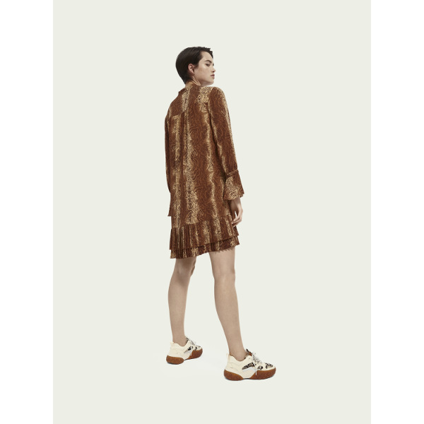 Scotch & Soda Pleated hem long-sleeve mini-dress