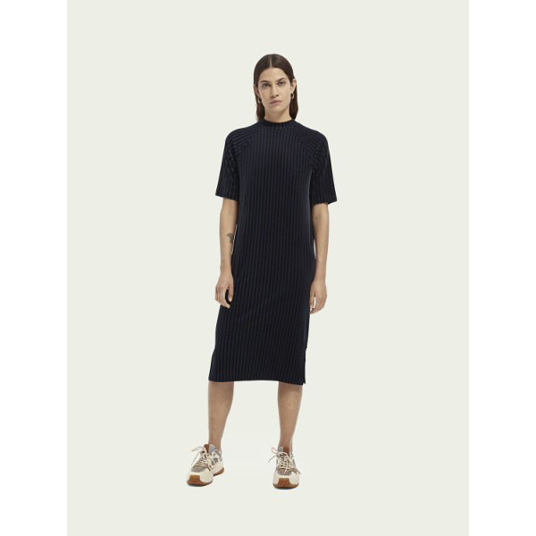 Scotch & Soda Stripe Velvet Midi Dress