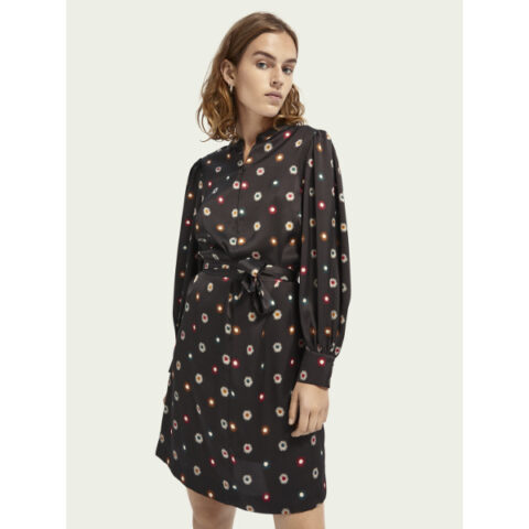 Scotch & Soda Printed waist tie dress Black