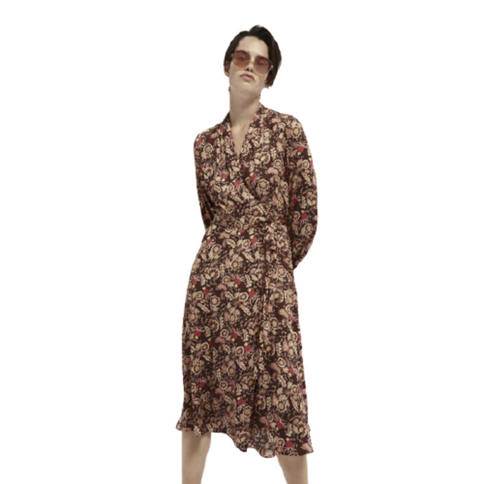 Scotch & Soda Floral-Print Belted Midi Wrap-Dress