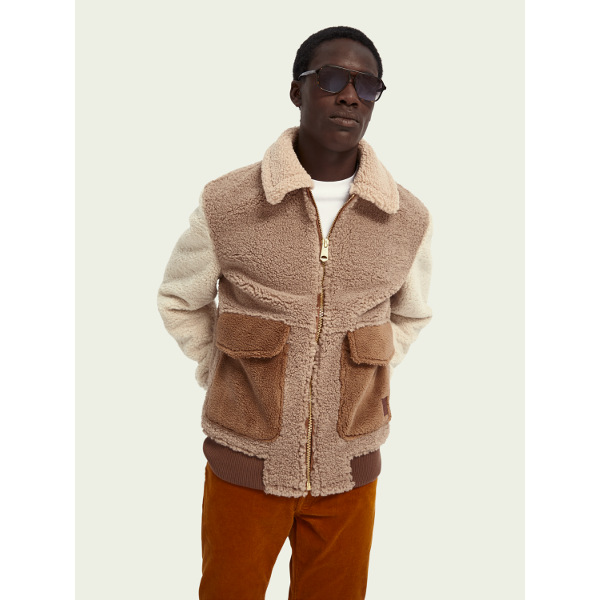 Scotch & Soda Colour-Block Sherpa Bomber Jacket