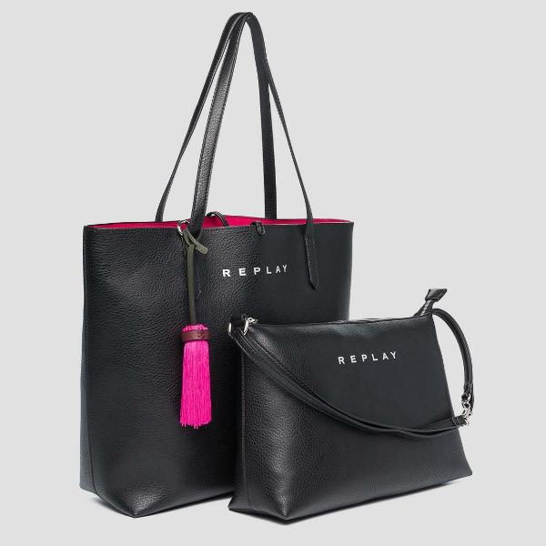 Replay Women's Reversible Bag Black-Fuchsia